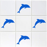 Dolphin Tile Stickers - Pack of 18 - Light Blue