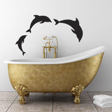 Dolphin Wall Stickers - Pod of 3 Dolphins - Black