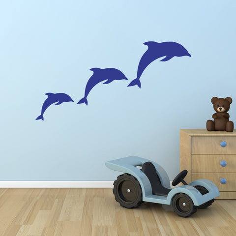 Dolphin Wall Stickers - Pod of 3 Dolphins - Dark Blue