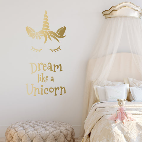 Dream Like A Unicorn Wall Sticker - Metallic Gold