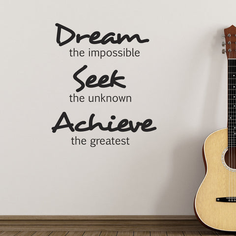 Dream Seek Achieve Wall Sticker - Black