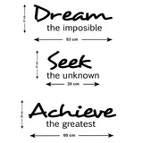 Dream Seek Achieve Wall Sticker - Size Guide