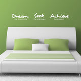 Dream Seek Achieve Wall Sticker - White