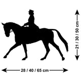 Dressage Horse Wall Sticker - Size Guide