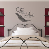 Feathers Appear When Angels Are Near Wall Sticker  - Black