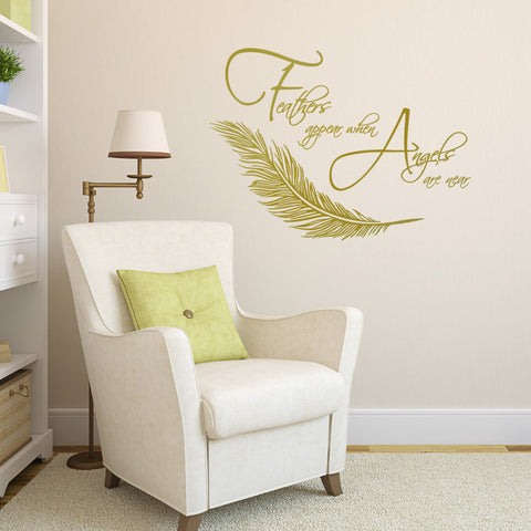 Feathers Appear When Angels Are Near Wall Sticker  - Gold