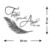 Feathers Appear When Angels Are Near Wall Sticker  - Size Guide