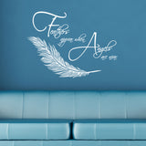 Feathers Appear When Angels Are Near Wall Sticker  - White