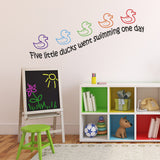 Five Little Ducks Nursery Rhyme Wall Sticker - Black Text