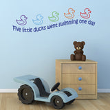 Five Little Ducks Nursery Rhyme Wall Sticker - Dark Blue Text