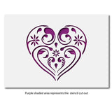 Small Flourish & Flower Pattern Heart Stencil Layout