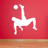 Football Wall Sticker - Overhead Kick - White