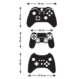 Gamer Wall Stickers - Pack of 3 Game Console Controllers - Sizes