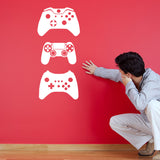 Gamer Wall Stickers - Pack of 3 Game Console Controllers - White