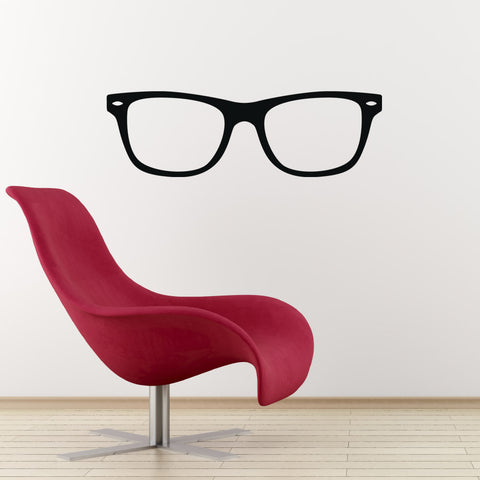 Geek Glasses Wall Sticker - Black