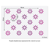 CraftStar 5 cm Flower Pattern Wall Stencil Size Guide