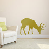 Grazing Stag Wall Sticker - Gold