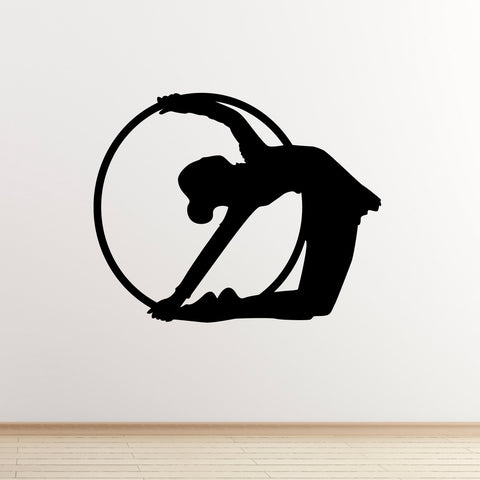 Rhythmic Gymnast With Hoop Wall Sticker - Black