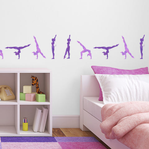 CraftStar Walkover Gymnast Stencil Set in Girl's Bedroom