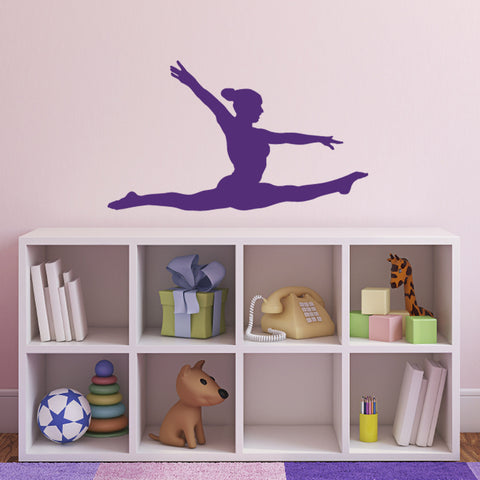 Gymnast Wall Sticker - Splits - Purple
