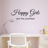 Happy Girls Are The Prettiest Wall Sticker - Black