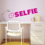 Hash Tag Selfie Wall Sticker - Dark Pink