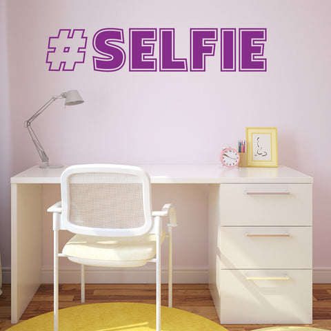 Hash Tag Selfie Wall Sticker - Purple