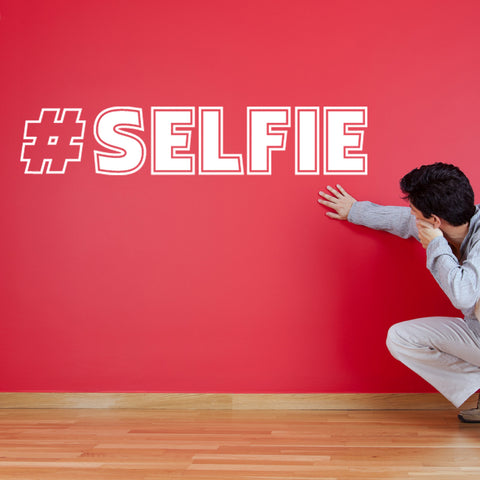 Hash Tag Selfie Wall Sticker - White