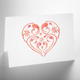 Small Flourish & Flower Pattern Heart Stencil