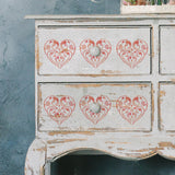 CraftStar Flourish & Flower Heart Stencil on furniture