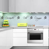 Herb Names Kitchen Wall Sticker - With Herb Leaves