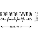 Husband & Wife Friends For Life Wall Sticker - Size Guide