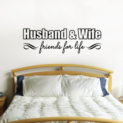 Husband & Wife Friends For Life Wall Sticker - Black