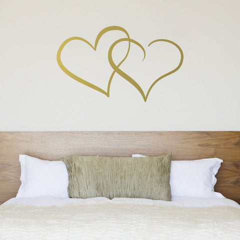 Interlocking Hearts Wall Sticker   Gold