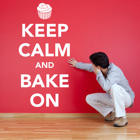 Keep Calm and Bake On Wall Sticker - White