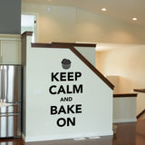 Keep Calm and Bake On Wall Sticker - Black