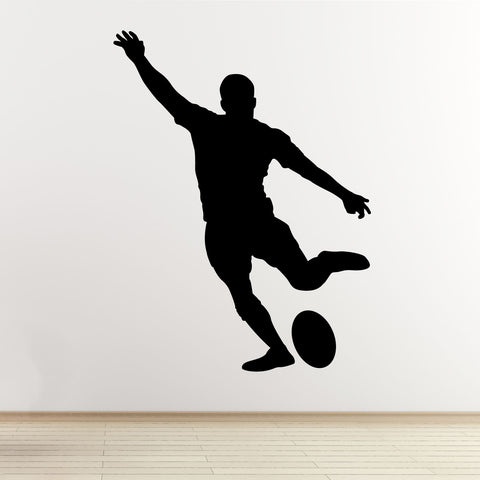 Kicking Rugby Player Wall Sticker - Black