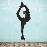 Large Ice Skater Wall Sticker - Black