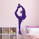 Large Ice Skater Wall Sticker - Purple