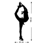 Large Ice Skater Wall Sticker - Size Guide