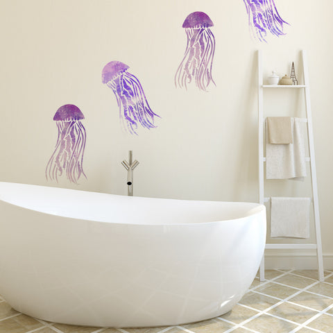 CraftStar Mauve Stinger Jellyfish Stencil on Wall
