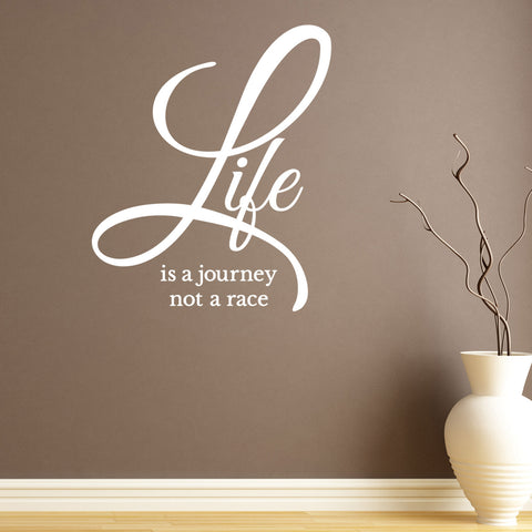 Life Is A Journey Not A Race Wall Sticker - White