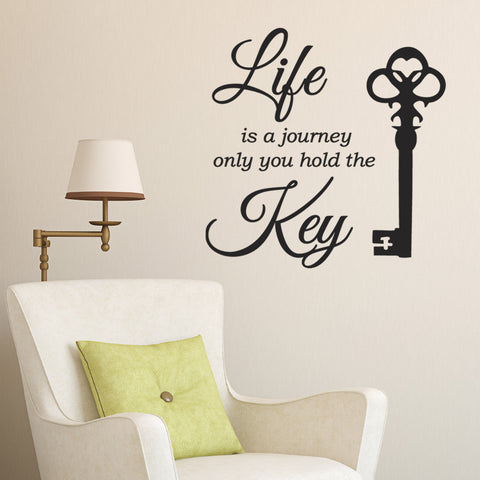 Life Is A Journey Only You Hold The Key Wall Sticker - Black