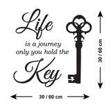 Life Is A Journey Only You Hold The Key Wall Sticker - Size Guide