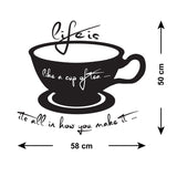 Life Is Like A Cup Of Tea Wall Sticker - Size Guide