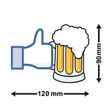 Like Beer Car Sticker - Size Guide