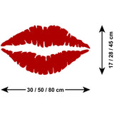 Lip Print Wall Sticker - Red Lipstick - Size Guide