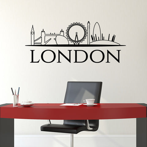 London Skyline Wall Sticker - Black