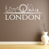 London Skyline Wall Sticker - White