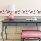 CraftStar Lotus Flower Border Stencil on wall